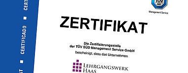 Das Zertifikat vom TÜV bestätigt unser Qualitätsmanagement