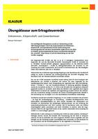 Übungsklausur zum Ertragsteuerrecht
